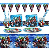 Gxhong 52pcs Suministros Vajilla de Fiesta Set,Decoracion Cumpleaños Superheroes Vajilla de Cumpleaños de Niños Decoración de Fiestas con Temática de los Vengadores Spiderman,Platos,Tazas,Servilletas