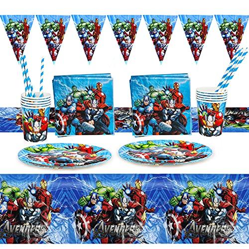 Gxhong 52 pcs Vaisselle de Fête,Superhéros Anniversaire Vaisselle Marvel Decoration Anniversaire Avengers Spiderman Decoration Table,Serviettes Assiettes Tasses Nappe Anniversaire Fête Décorations