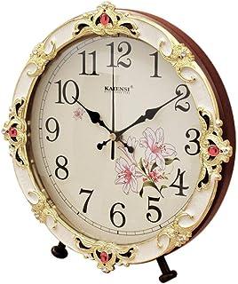 デスククロックファミリークロック置時計、リビングルームのためのヨーロッパのレトロミュートサイレントウッド装飾リビングルームの寝室のために適したオフィス(色:ウッドカラー、サイズ:12インチ)