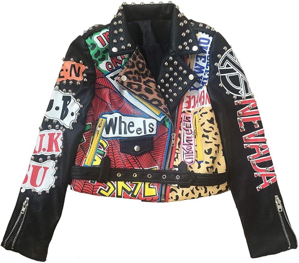Liandesheng Leather Jacket Women Motor Biker Graffiti Print Studded Punk Cropped Coat (L, Black)