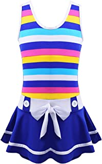 winying Girls Summer Tankini Striped Wide Shoulder Straps One-Piece Cover-ups Swimsuit Bathing Suit Blue 13-14