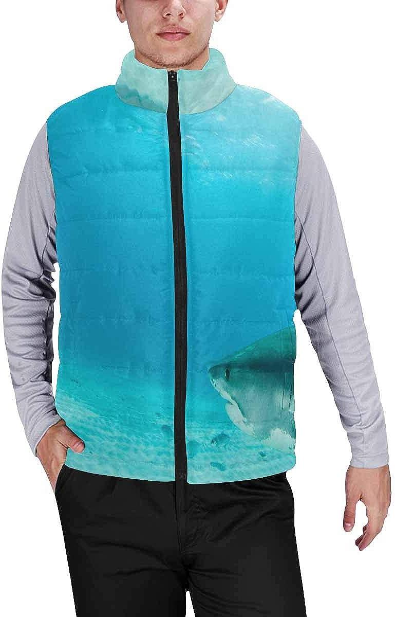 InterestPrint Men's Outdoor Casual Stand Collar Padded Vest Coats Space Elements