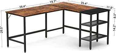 CubiCubi L-Shaped Computer Desk, Industrial Office Corner Desk Writing Study Table with Storage Shelves, Space-Saving, Rustic Brown/Black