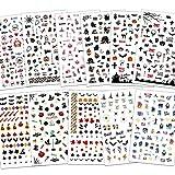 Konsait 900+ pezzi Halloween Adesivi Unghie 3D Nail Stickers Adesivi Cranio, Cranio Zucca Pipistrello Ragno Strega Decalcomanie Decorazione Unghie Fai Da Te Attrezzatura Arte Unghie Autoadesivi
