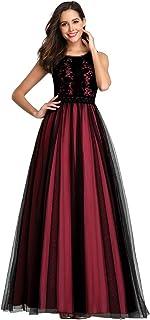Ever-Pretty Abiti da Damigella Scollo a V Linea ad A Lungo Tulle Elegante Donna 00888