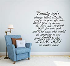 Vinyl Wall Art Inspirational Quotes and Saying Home Decor Decal Sticker Family Isn't Always Blood It's The People in Your Life who Want You in Theirs for Bedroom Living Room