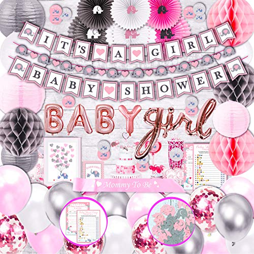 305 Piece Pink Elephant Baby Shower Decorations for Girl Kit - It's a Girl Pre-Strung Banners Garland Guestbook Sash Balloons Cake Toppers Paper Fans Lanterns Napkins Straws Games & Thank You Stickers