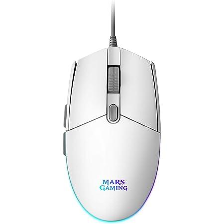 Mars Gaming MMG, Ratón Gaming Blanco, RGB Flow, Óptico 3200 DPI, Antideslizante