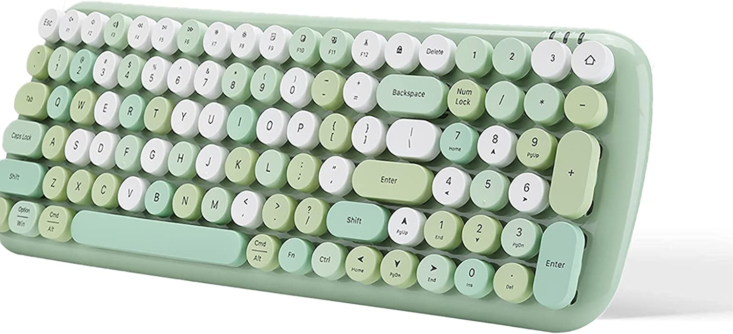 Wireless Bluetooth Keyboard,Ultra-Thin Computer Keyboard,Retro Round Keycap,Long-Distance Transmission, Green Mixed Color Version,Compatible with Win/Mac/Android/iOS Systems (Green)