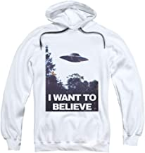 X-Files I Want to Believe Aliens UFO Pullover Hoodie Sweatshirt & Stickers