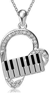 ACJNA 925 Sterling Silver Heart Pendant Piano Keyboard Necklace Music Jewelry for Women Girls