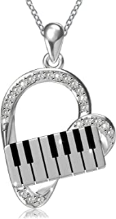 925 Sterling Silver Heart Pendant Piano Keyboard Necklace Music Jewelry for Women Girls