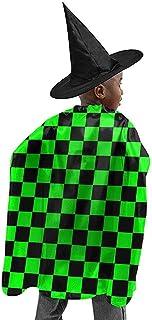 KDU Fashion Capa De MagoTablero De Damas Negro Y Verde Lima Bruja De Halloween Disfraces De Cosplay Capa De Capa Capa con Sombrero De Mago para Fiesta De Cumpleaños Festival 100X120Cm