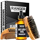 Beard Kit by Ranger Grooming Company by Leven Rose, 100% Organic Natural Fragrance Free Unscented Beard Oil, Boar Bristle Beard Brush, Natural Wood Comb Beard Care Starter Set for Men