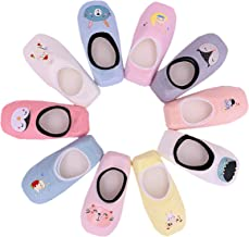 Toddler Anti Slip No Show Socks - Low Cut Non Skid Grip Slippers for Baby Girls 10 Pairs