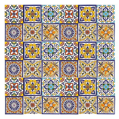 Felipe - 30 mexikanische Fliesen 10x10 cm Talavera Badezimmer- und Küchenfliesen Dekoration für Badezimmer, Dusche, Treppen, Küchenrückwand, Zementfliesen, marokkanische Designs