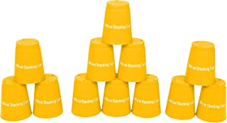 "Trademark Innovations Large 3.5"" x 4.4"" Tall Quick Stack Cups - Speed Training Sports Stacking Cups - Set of 12 (Yellow)"