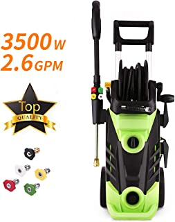Homdox 3500 PSI Electric Pressure Washer Electric Power Washer 2.6 GPM 1800W High Pressure Washer Cleaner with Hose Reel and 5 Interchangeable Nozzles