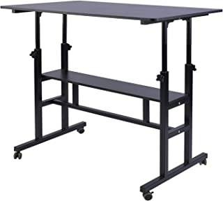 AIZ Mobile Standing Desk, Adjustable Computer Desk Rolling Laptop Cart on Wheels Home Office Computer Workstation, Portabl...