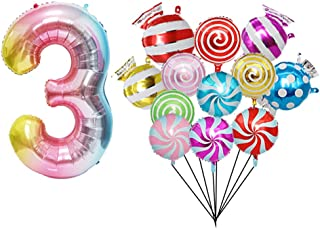 3rd Birthday Party Decorations Kit - 40 inch Rainbow Gradient Colorful Number 3 Foil Balloon,12 pcs 18inch Sweet Candy Bal...