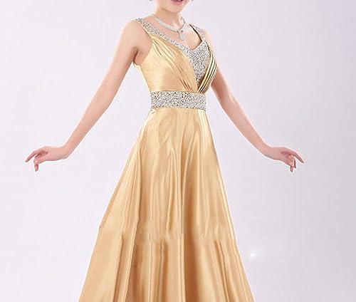 SHJJK Mariée Toast VêteHommests Robe de Soirée Costumes épaules Longue Section V-Cou,Jaune,L