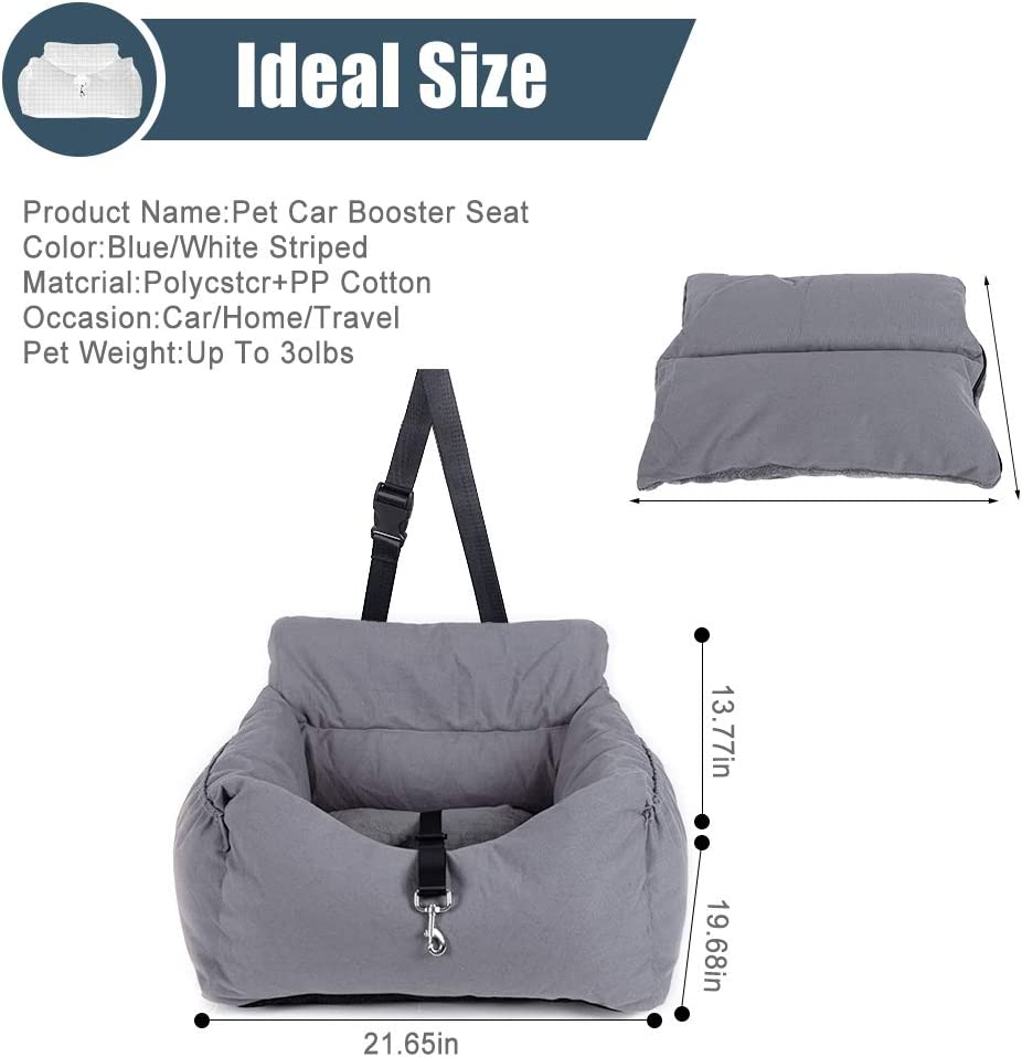 Dog Car Seat,Puppy Booster Seat Cat Pet Travel Car Carrier Bed with Storage Pocket and Clip-on Safety Leash Removable Washable Cover for Small Dogs and Cats.