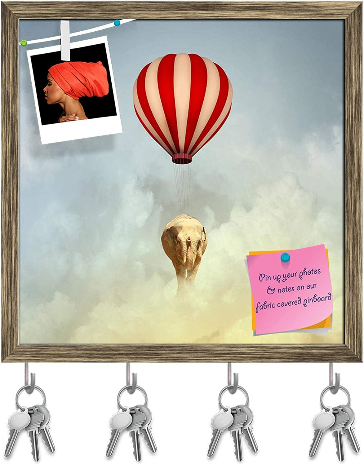 Artzfolio Elephant Flying in Sky Key Holder Hooks   Notice Pin Board   Antique golden Frame 20 X 20Inch