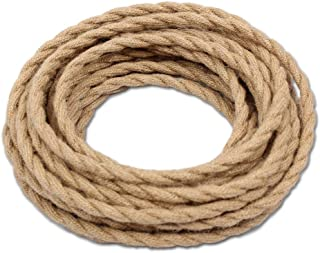 32.8ft Hemp Rope Covered Lamp Twisted Wire,PRUNLLA Vintage 18/2 Industrial Electrical Lamp Cord,18-Gauge Antique Style for Retro Lamp,DIY Projects (32.8ft)