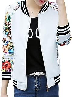 Chinateraca Floral Print Slim Coat Women Zip Jacket Outfit Short Baseball Outwear M-3XL