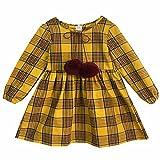 Kseniya Kids Baby Girls Long Sleeve Dresses Plaid Wool Ball Girl Casual Dress (7-8y, Yellow)