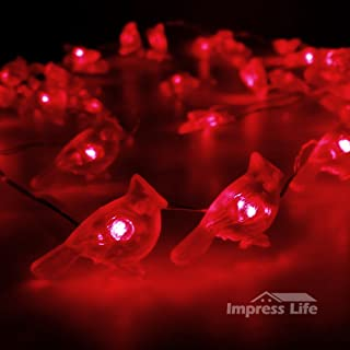 Christmas String Lights, Impress Life Cardinal Red Snow Bird 10 ft 50 LEDs with Remote Timer for Covered Outdoor, Thanksgi...