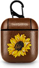 Leather Case for AirPods Sunflower Brown PU Leather Protective Shockproof Cover Wireless Charging for Apple AirPods 1 2 Series