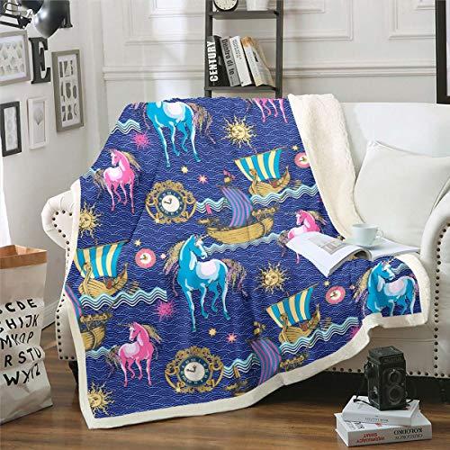 Loussiesd Manta de felpa con diseño de unicornio para el sol, velero, estilo bohemio, manta de forro polar para cama, sofá, manta difusa, ultra suave, reloj individual de 150 x 152 cm
