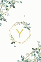 "Υ: υ Upsilon, Initial Monogram Greek Alphabet Letter Υ Upsilon, Cute Interior Leaves Decoration, Lined Notebook/Journal, 100 Pages, 6""x9"", Soft Cover, Matte Finish"