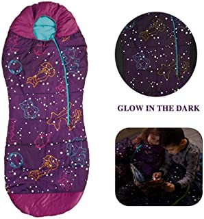 AceCamp Kids Sleeping Bags for Boys Girls Glow-in-The-Dark Sleeping Bag Blue Purple Mummy Style Toddler Extreme Temp Rating 30F/ -1C Great for Slumber Party/Travel/Camping - (Purple - Kids)
