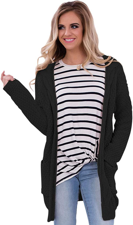 Elegant Large Size Sweater Long Sleeve Cardigan Pockets Long Women's Sweater Coat Ladies' Tops (color   Black, Size   XXL)