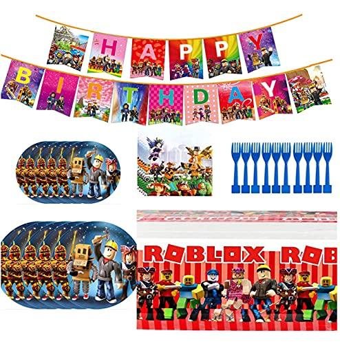 CYSJ Set de Fiesta de Cumpleaños de Roblox, 81 Pcs Juego de Cubiertos de Mickey Mouse, Cumpleaños Vajilla Set de Fiesta Kids Birthday Roblox, Incluye Pancarta Ro-blox, servilletas
