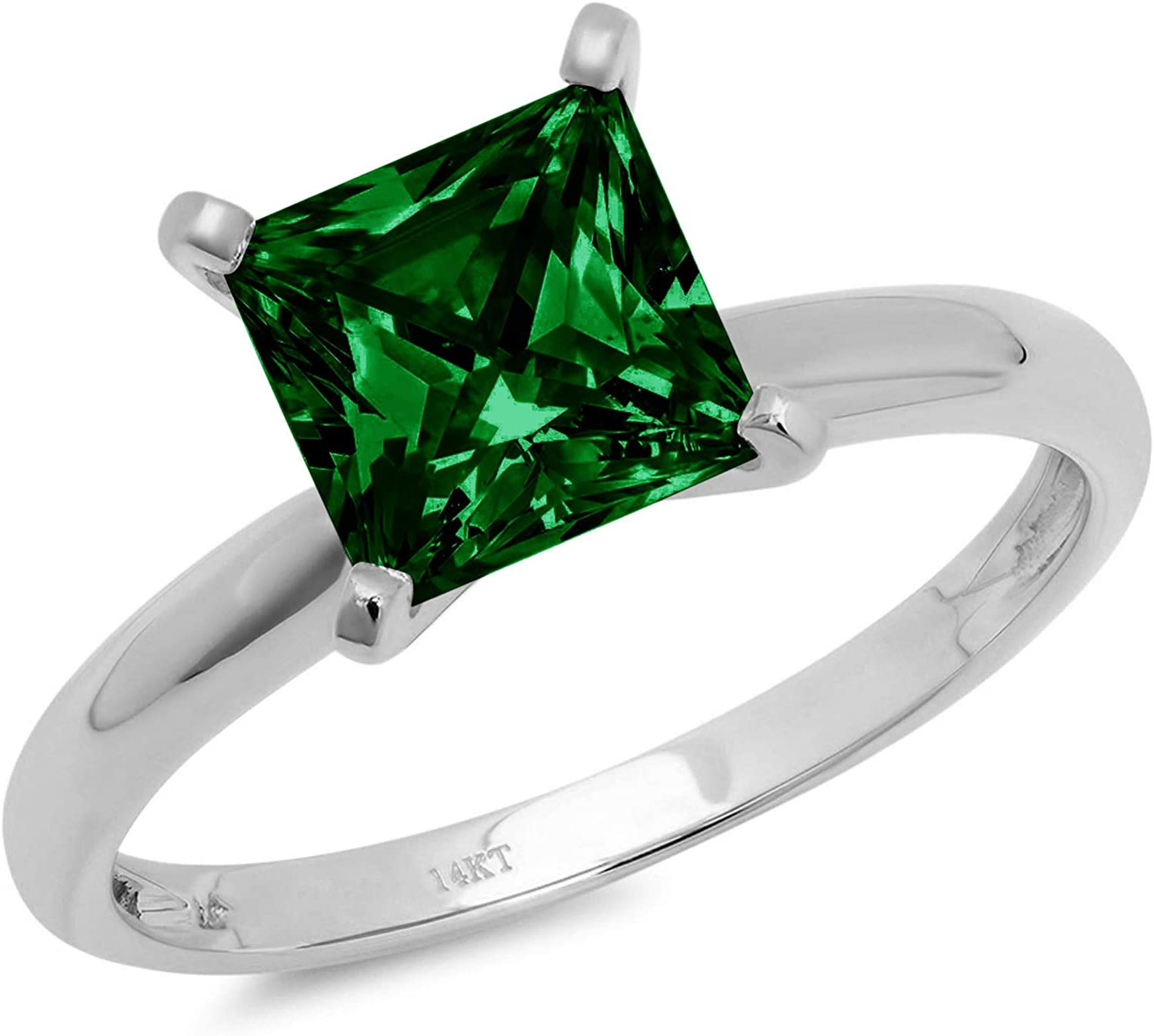 1.4ct Brilliant Princess Cut Solitaire Flawless Simulated Cubic Zirconia Green Emerald Ideal VVS1 4-Prong Engagement Wedding Bridal Promise Anniversary Designer Ring Solid 14k White Gold for Women