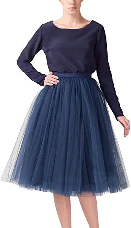 Women Skirts A Line Short Knee Length Tutu Tulle Prom Party Cute Skirt Elastic Waist Quality Navy Blue 5XL