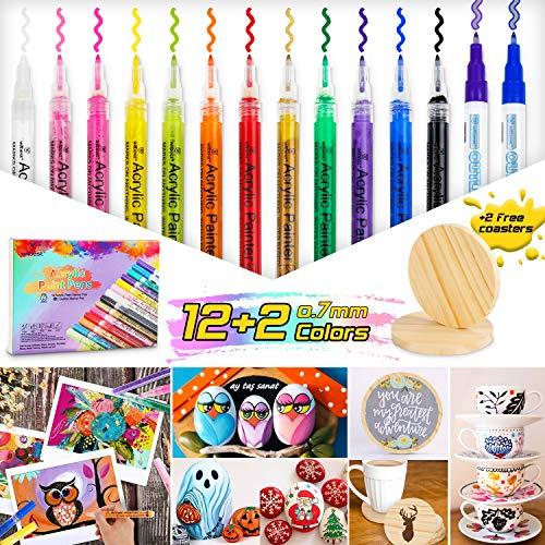 wilbest® Acrylstifte Marker Stifte, 14 Farben Wasserfest Acrylstifte für Steine Bemalen, 2 kostenlose Untersetzer aus Holz, Acrylfarben Marker Set für DIY Fotoalbum Glas Porzellan Leder (0.7mm Spitze)