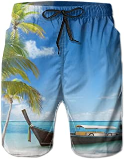 Bañador para Hombres,Men's Swimtrunks Swimwear Hawaiian Tropical Boat Sea Novelty Athletic Beach Summer Mesh Lining