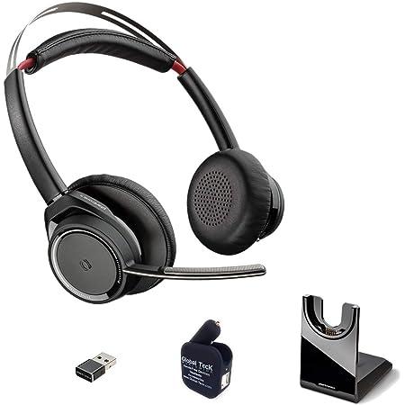 capteurs intelligents Noir Bras de Microphone r/éduction du Bruit Plantronics Voyager Focus UC B825 Casque st/ér/éo Bluetooth sans Station de Charge avec dongle USB A BT