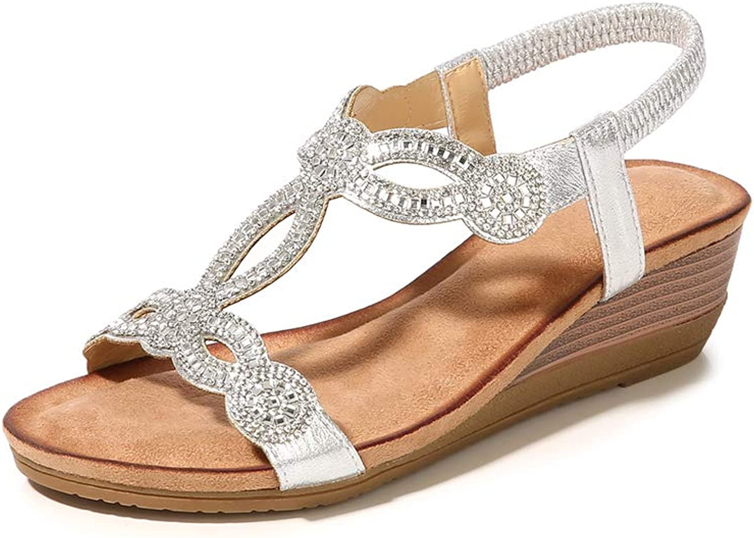 Mekidy Women's Fashion Jeweled Beaded Wedge Leather Sandals