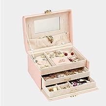 MU Boîte à Bijoux portative de ménage boîte à Bijoux en Bois Massif/boîtes de Rangement Multicouche/Commode Finition boît...