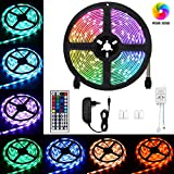 LED Strip, Chalpr 5M RGB Dimmbar LED band, SMD5050 150 leds IP65 Wasserdicht LED Lichtband Leiste, 44 Tasten IR Fernbedienung 12V 3A Netzteil [Energieklasse A+++]