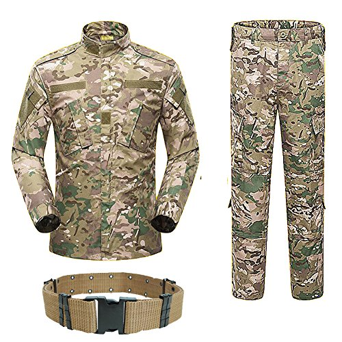 H World Shopping Men Tactical BDU Combat Uniform Jacket Shirt & Pants Suit for Army Military Airsoft Paintball Hunting Shooting War Game Multicam MC (M)