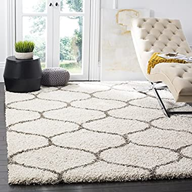 Safavieh Hudson Shag Collection SGH280A Ivory and Grey Moroccan Ogee Plush Area Rug (5'1  x 7'6 )