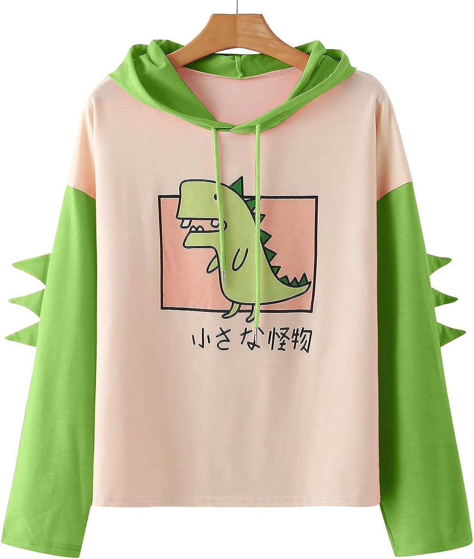 Sweatshirt for Women Trendy,Women's Dinosaur Sweatshirt Long Sleeve Splice Tops Cartoon Cute Hoodies Teens Girls Casual