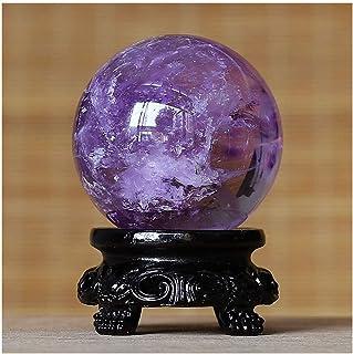 水晶球 ピュアナチュラル原石クリスタルボールパープルひびが入ったクリスタルガラス玉オフィス移転ボールラッキーボール風水ギフトオーナメント 風水ボール (サイズ : 4.18cm)