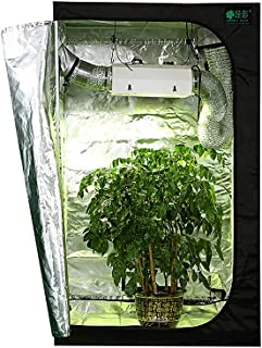 600D Plant Tent 120 * 120 * 200cm Reflective Mylar Hydroponic Grow Tent with Observation Window and Waterproof Floor Tray ...